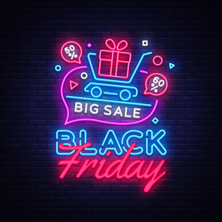 Black Friday Sale concept banner in fashionable neon style, luminous signboard. Nightly advertising of sales rebates of Black Friday. Vector illustration for your projects.