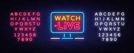 Watch Live Neon Text Vector. Watch Live neon sign, design template, modern trend design, night neon signboard, night bright advertising, light banner, light art. Vector. Editing text neon sign