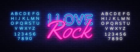I Love Rock Neon Text Vector. Rock Music neon sign, design template, modern trend design, night neon signboard, night bright advertising, light banner, light art. Vector. Editing text neon sign. Illusztráció