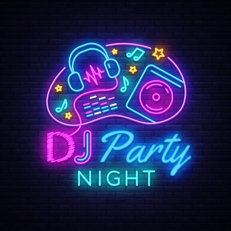 DJ Music Party neon teken vector ontwerpsjabloon. DJ Concept van muziek, radio en live concert, neon poster, licht banner ontwerpelement kleurrijk, nacht heldere reclame, helder teken. Vector Vector Illustratie