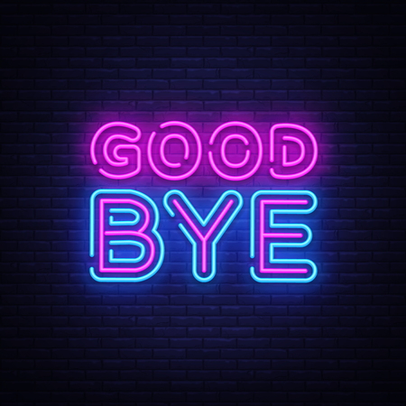 Good Bye neon text vector design template. Good Bye neon logo, light banner design element colorful modern design trend, night bright advertising, bright sign. Vector illustration.