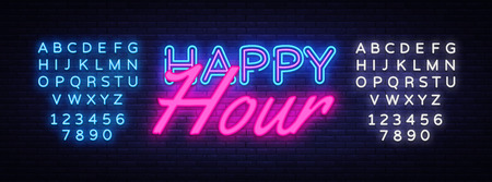 Happy Hour Neon Text Vector. Happy Hour neon sign, design template, modern trend design, night neon signboard, night bright advertising, light banner, light art. Vector. Editing text neon sign