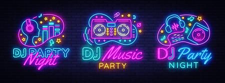 Modèle de conception de vecteur de collection d'enseignes au néon DJ Music Party. DJ Concept de musique, radio et concert en direct, affiche au néon, élément de conception de bannière lumineuse colorée, publicité lumineuse nocturne. Vecteur Vecteurs