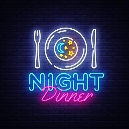 Night Dinner neon sign vector. Restaurant logo Design template neon sign, light banner, neon signboard, nightly bright advertising, light inscription. Vector illustration Logo