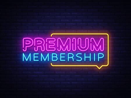 Premium Membership neon sign vector. Exclusive Membership badge Design template neon sign, light banner, neon signboard, nightly bright advertising, light inscription. Vector illustration.