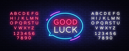 Good Luck Neon Text Vector. Good Luck neon sign, design template, modern trend design, night neon signboard, night bright advertising, light banner, light art. Vector. Editing text neon sign.