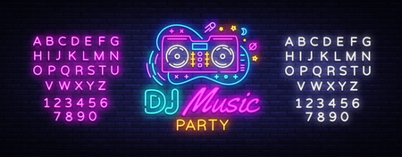 DJ Music Neon sign vector. Night Party Design template neon sign, Dj Sound Advertising light banner, neon signboard, nightly bright advertising, light inscription. Vector. Editing text neon sign. 스톡 콘텐츠 - 109087822