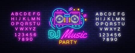 DJ Music Neon sign vector. Night Party Design template neon sign, Dj Sound Advertising light banner, neon signboard, nightly bright advertising, light inscription. Vector. Editing text neon sign.