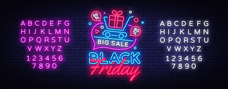 Black Friday Sale concept banner in fashionable neon style, luminous signboard. Nightly advertising of sales rebates of Black Friday. Vector illustration for your projects. Editing text neon sign.