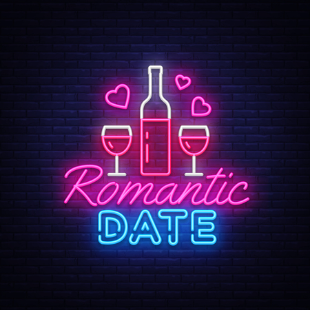 Romantic Date neon sign vector design template. Romantic dinner neon logo, light banner design element colorful modern design trend, night bright advertising, bright sign. Vector illustration. Illustration