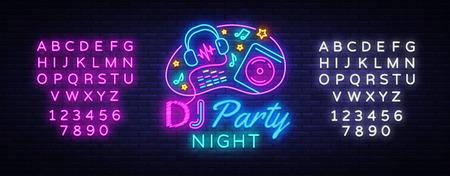 DJ Music Party modèle de conception de vecteur de signe au néon.