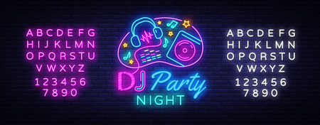 DJ Music Party neon sign vector design template.