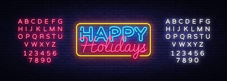 Bonnes vacances vecteur de texte néon. Enseigne au néon de joyeuses fêtes, modèle de conception, design tendance moderne, enseigne au néon de nuit, publicité lumineuse de nuit, bannière lumineuse. Vecteur. Modification de l'enseigne au néon de texte. Vecteurs