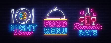 Food night set neon sing, label and logo.