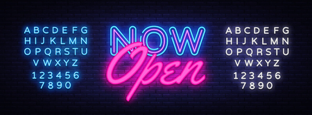 Now Open neon text vector design template. Now Open neon logo, light banner design element colorful modern design trend, night bright advertising, bright sign. Vector. Editing text neon sign.