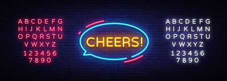 Cheers Neon Text Vector. Çizim