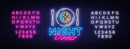 Night Dinner neon sign vector.