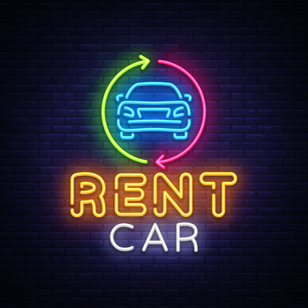 Rent car neon emblem vector design template.