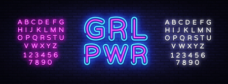 Girl Power neon sign vector. Grl Pwr Design template neon sign, light banner, neon signboard, nightly bright advertising, light inscription. Vector illustration. Editing text neon sign.