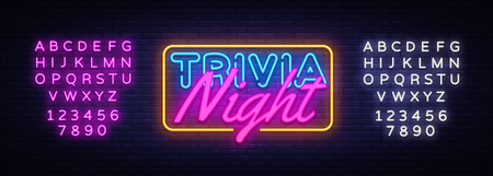 Trivia Night neon sign vector. Quiz Time Design template neon sign, light banner, neon signboard, nightly bright advertising, light inscription. Vector illustration. Editing text neon sign. Illustration