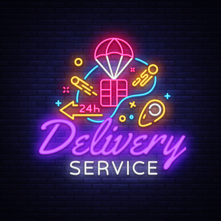 Delivery Service Neon Logo Vector. Banque d'images - 109899192