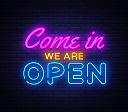 Come in we are Open neon sign vector design template. Stock Illustratie
