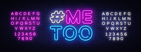 Me Too Neon Text Vector. Hashtag Me Too neon sign, design template, modern trend design, night neon signboard, night bright advertising, light banner. Vector illustration. Editing text neon sign. Stock Illustratie