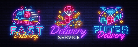 Big set neon signs, theme Delivery. Fast delivery neon signs, design template, modern trend design, night neon signboard, night bright advertising, light banner, light art. Vector illustration.