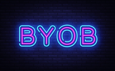 Byob neon text vector design template. Bring Your Own Bottle neon sign, light banner design element colorful modern design trend, night bright advertising, bright sign. Vector illustration.