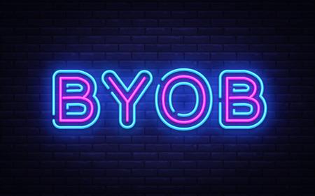 Modèle de conception de vecteur de texte Byob néon. Apportez votre propre enseigne au néon de bouteille, élément de conception de bannière lumineuse tendance de design moderne coloré, publicité lumineuse de nuit, signe lumineux. Illustration vectorielle.