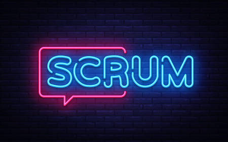 Scrum Neon Text Vector.