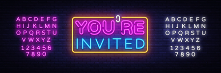 Youre Invited neon text vector design template. Neon logo, light banner design element colorful modern design trend, night bright advertising, bright sign. Vector. Editing text neon sign. Stock Illustratie