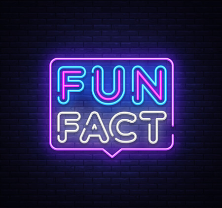 Fun Fact neon sign vector. Facts Design template neon sign, light banner, neon signboard, nightly bright advertising, light inscription. Vector illustration.