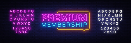 Premium Membership neon sign vector. Exclusive Membership badge Design template neon sign, light banner, neon signboard, nightly bright advertising, light inscription. Vector. Editing text neon sign. Illustration
