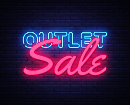 Outlet Sale neon text vector design template. Discount neon banner, light banner design element colorful modern design trend, night bright advertising, bright sign. Vector illustration.