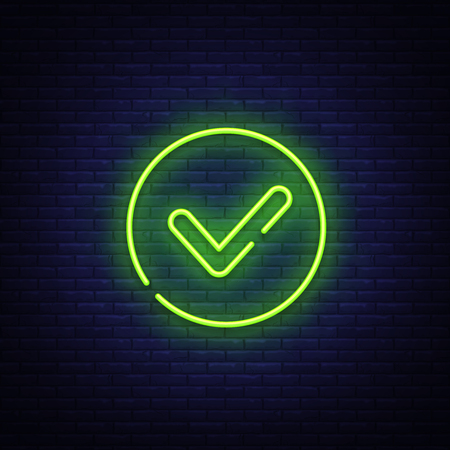 Green check mark Neon Sign Vector. Check list button neon signboard, design template, modern trend design, night neon signboard, night bright advertising, light banner, light art. Vector illustration