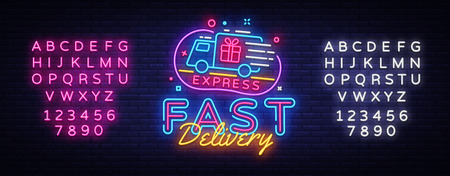 Fast Delivery neon sign vector. Delivery concept Design template neon sign, light banner, neon signboard, nightly bright advertising, light inscription. Vector illustration. Editing text neon sign Banque d'images - 111634152