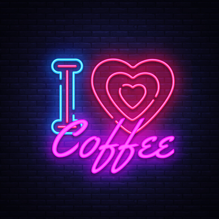 I Love Coffee neon sign vector. Coffee Shop Design template neon sign, light banner, neon signboard, nightly bright advertising, light inscription. Vector illustration