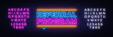 Referral Program Neon Text Vector. Neon sign, design template, modern trend design, night neon signboard, night bright advertising, light banner, light art. Vector. Editing text neon sign. Stock Illustratie