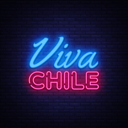 Viva Chile Neon Text Vector. Chile independence day neon sign, design template, modern trend design, night neon signboard, night bright advertising, light banner, light art. Vector illustration. Çizim