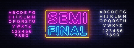 Semi final neon text vector design template. Neon logo, light banner design element colorful modern design trend, night bright advertising, bright sign. Vector. Editing text neon sign