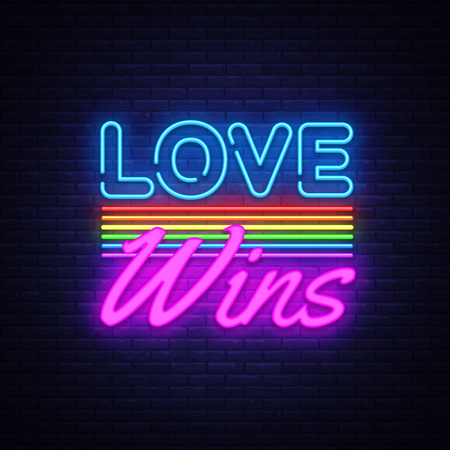 Love Wins Neon Text Vector. Love Wins neon sign, design template, modern trend design, night neon signboard, night bright advertising, light banner, light art. Vector illustration