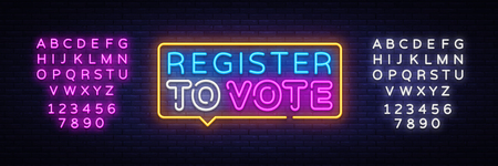 Register to vote neon sign vector. Election Design template neon sign, light banner, neon signboard, nightly bright advertising, light inscription. Vector illustration. Editing text neon sign. Illusztráció