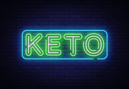 Keto Diet neon sign vector. Ketogenic Diet Design template neon sign, light banner, neon signboard, nightly bright advertising, light inscription. Vector illustration.