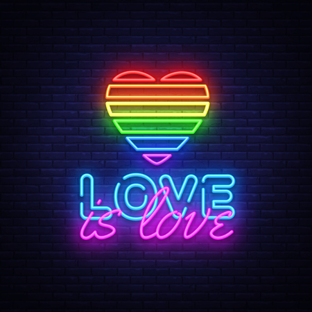 Liefde is liefde neon tekst vector ontwerpsjabloon. LGBT-neonlogo, lichte bannerontwerpelement kleurrijke moderne designtrend, nacht heldere reclame, helder teken. vector illustratie