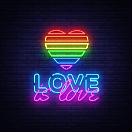 Love is Love plantilla de diseño de vector de texto de neón. Logotipo de neón LGBT, elemento de diseño de banner de luz colorida tendencia de diseño moderno, publicidad luminosa nocturna, letrero luminoso. Ilustración vectorial