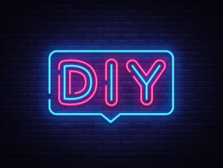 DIY letters Neon Text Vector. Do It Yourself neon sign, design template, modern trend design, night neon signboard, night bright advertising, light banner, light art. Vector illustration.