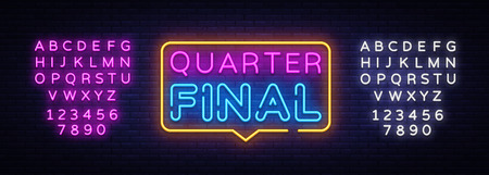 Quarter Final Neon Text Vector. Neon sign, design template, modern trend design, night neon signboard, night bright advertising, light banner, light art. Vector illustration. Editing text neon sign.