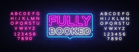 Fully Booked Neon Text Vector. Fully Booked neon sign, design template, modern trend design, night neon signboard, night bright advertising, light banner, light art. Vector. Editing text neon sign. Stock Illustratie