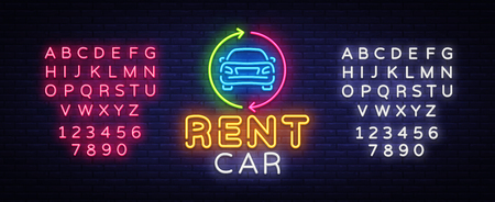 Rent car neon emblem vector design template. Trade Car neon signboard, light banner design element colorful modern design trend, night bright advertising, bright sign. Vector. Editing text neon sign Vectores